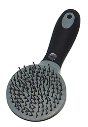 <p>The plastic pins are impregnated with the KBF99 additive to give the brush its bacteria and fungus killing properties to assist in the prevention of infection and reinfection of various diseases, including strangles, ringworm, E.coli and mycotoxin. Ergonomically designed to be comfortable for the groom and perfect for gently untangling hair. </p>