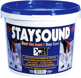Staysound is a cold clay designed to cool, soothe and tighten hot tired legs.