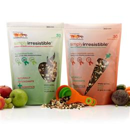 Simply Irresistible is an all natural feed topping containing antioxidants & probiotics, designed to encourage your horse to eat & promote a healthy digestive system. It's great for fussy eaters, or if trying to feed wormers; medications or supplements.