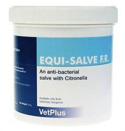 <p>Equi-Salve is an anti-bacterial ointment, that also benefits from the addition of Citronella, which acts as a fly repellent. It can be used on horses suffering from mud fever, sweet-itch or minor cuts & grazes. </p> <p>When equi-salve is applied to the skin, it will soothe the symptoms & encourages healing.<br> </p>