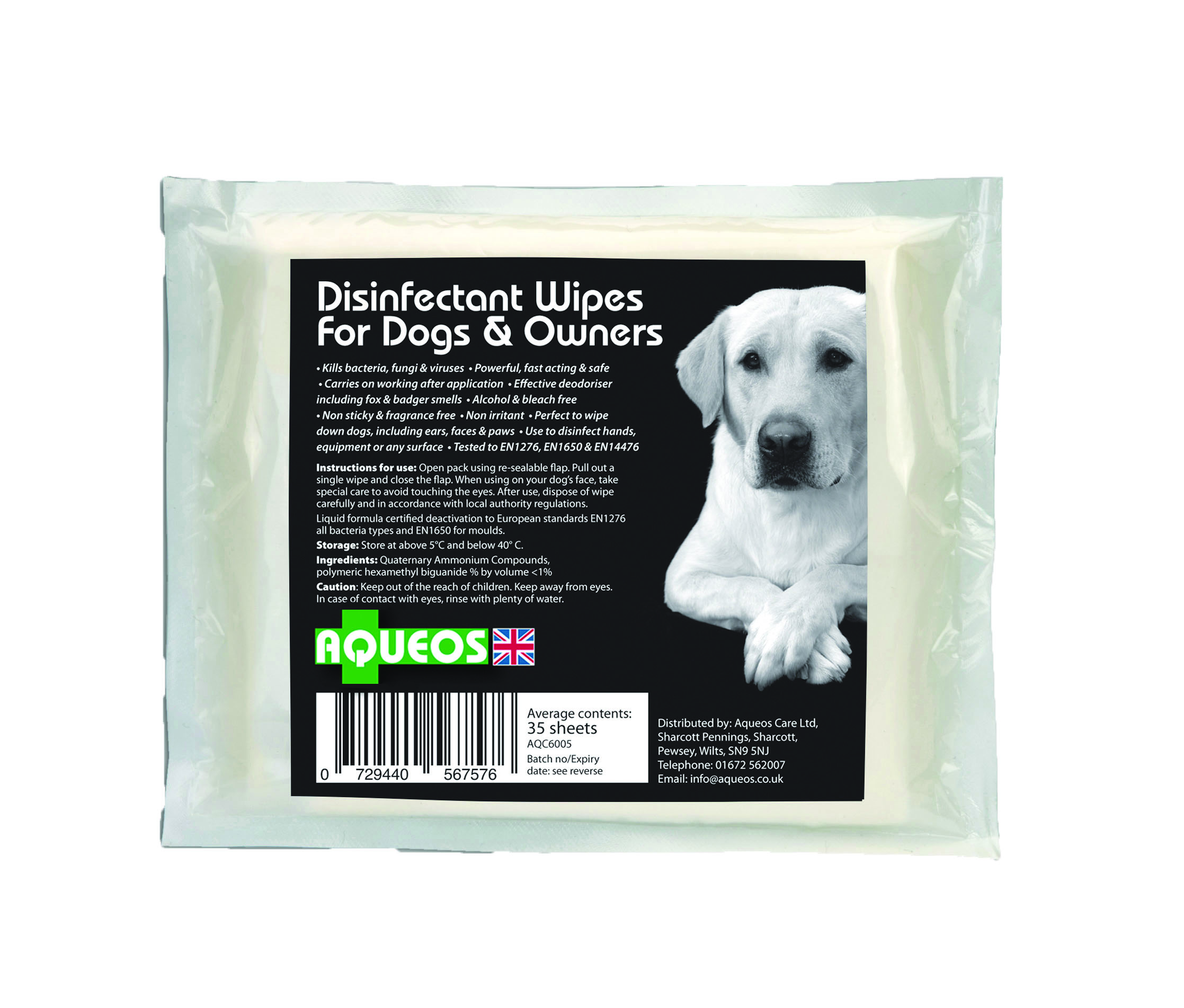 Aqueos Canine Disinfectant Wipes
