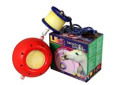 Likit Boredom Breakers are a combination toy, with a Likit Holder on the top (that takes a 650g Likit) & a sturdy ball attached to the lower part, with space for two Little Likits. This fun toy can be hung up in the stable with the rope provided.