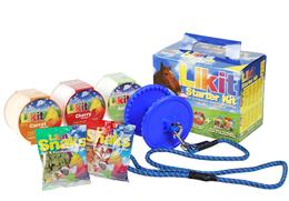 <p>Likit Starter Kits are fantastic value, with each kit containing a Likit Holder; one each of Apple, Carrot & Cherry Likits 650g; one pack of Mint & Eucalyptus Snaks 100g & one pack of Apple & Cinnamon Snaks 100g. </p>