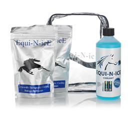 Equi-N-Ice Stable Pack contains two Equi-N-Ice Bandages & one 500ml bottle of Equi-N-Ice Recharge Coolant, in a zipped see through bag.