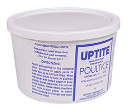 Uptite Poultice is a popular, non-irritant, non-toxic leg poultice, that soothes & reduces inflammation, heat & soreness. It is safe to use on sensitive skin; can be left on for up to 24 hours & is easy to remove with water.