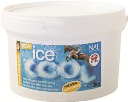 <p>NAF Ice Cool is a cooling clay that contains a mixture of natural clays, Witch Hazel & Arnica. After strenuous exercise, it is ideal to soothe, cool & tighten your horse's legs & tendons. It's easy to apply & washes off with just cold water. </p>